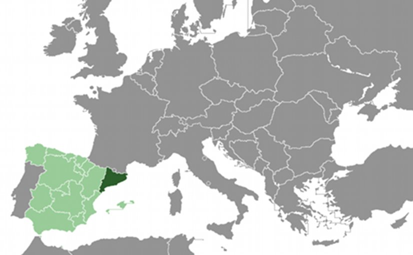 Location of Catalonia (dark green) in Spain. Source: Wikipedia Commons.
