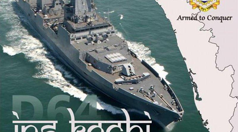 Indian Navy Ship INS Kochi during Sea Trials. Photo: IDRW, WIkipedia Commons.
