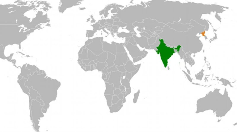 Locations of India and North Korea. Source: Wikipedia Commons.