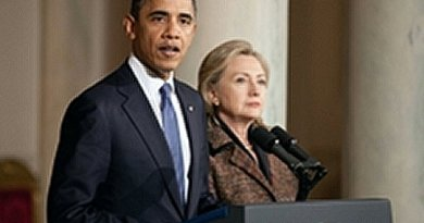 United States' Barack Obama and Hillary Clinton.