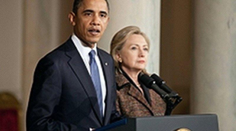 United States' Barack Obama and Hillary Clinton.