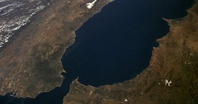 Strait of Gibraltar as seen from space, with the Iberian Peninsula on the left. Source: NASA.