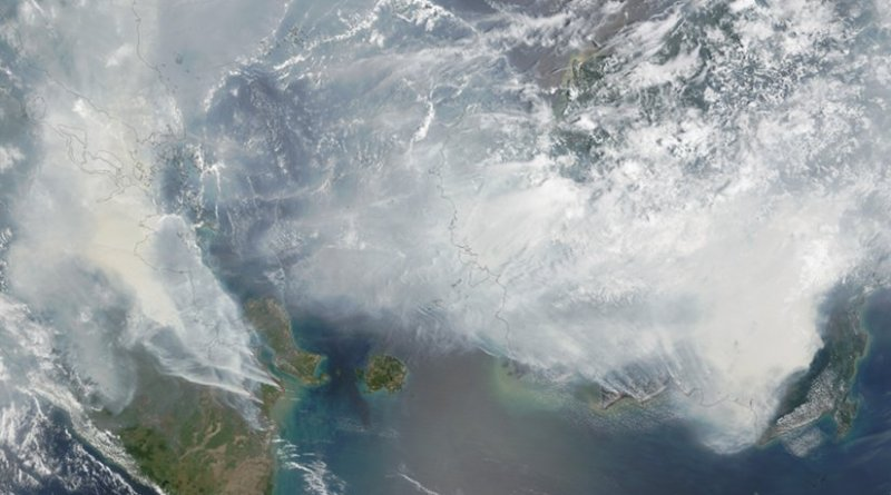 A NASA satellite image showing the extent of the haze on 24 September 2015. Photo Credit: NASA, Wikipedia Commons.
