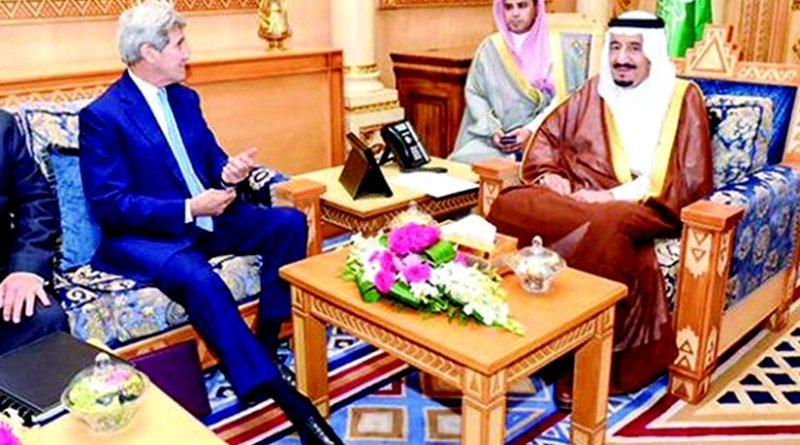 Saudi Arabia's King Salman meets John Kerry. Photo Credit: SPA.
