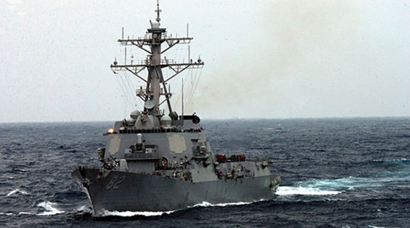 USS Lassen underway in the rough seas of the East China Sea, in 2003. U.S. Navy photo by Photographer's Mate2nd Class Inez Lawson, Wikipedia Commons.