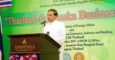 Sri Lanka President Maithripala Sirisena addressing the Thailand – Sri Lanka Business Forum in Bangkok.
