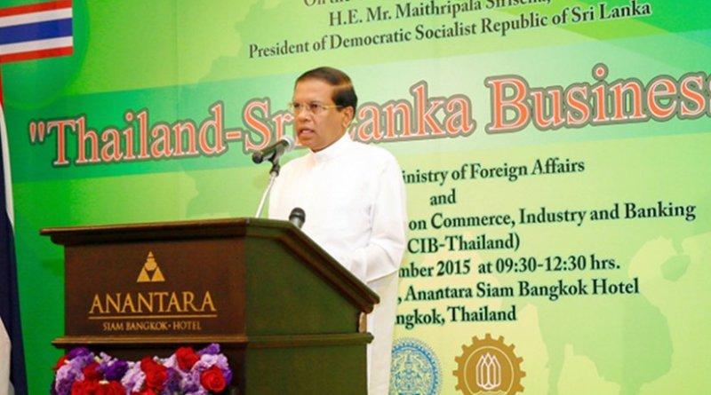 Sri Lanka President Maithripala Sirisena addressing the Thailand – Sri Lanka Business Forum in Bangkok.