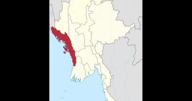 Location of Rakhine State in Burma (Myanmar). Source: Wikipedia Commons.