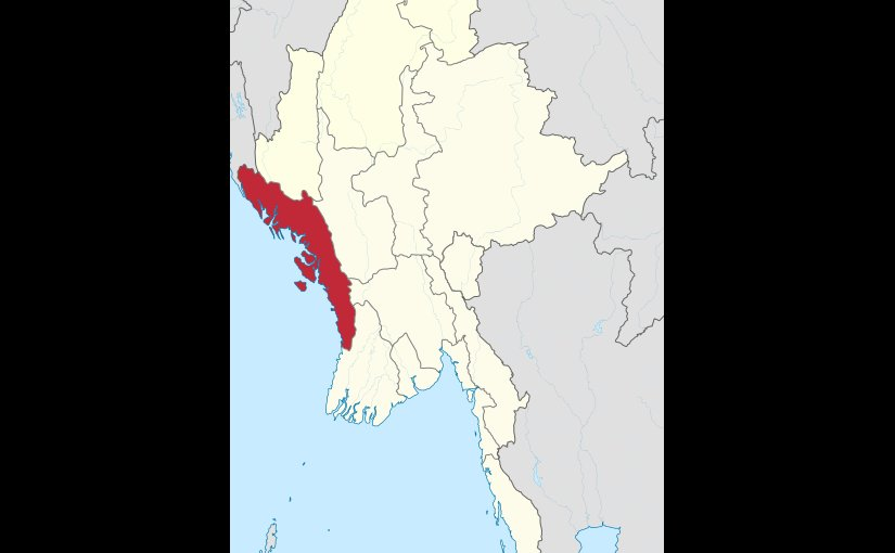 Location of Rakhine State in Burma (Myanmar). Source: Wikipedia Commons.