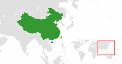 Locations of China and Taiwan. Source: Wikipedia Commons.