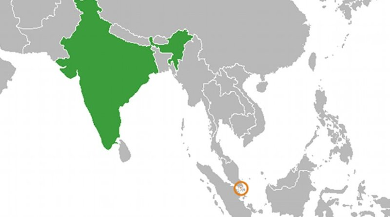 Locations of India and Singapore. Source: Wikipedia Commons.