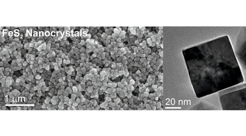 Pyrite nanocrystals under the electron microscope, which make up the cathode in the fool's gold battery (photo: Empa)