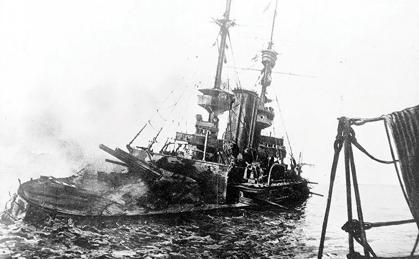 British battleship HMS Irresistible abandoned and sinking, having been shattered by explosion of floating mine in Dardanelles during attack on Narrows' Forts, March 18, 1915 (Royal Navy/Library of Congress)