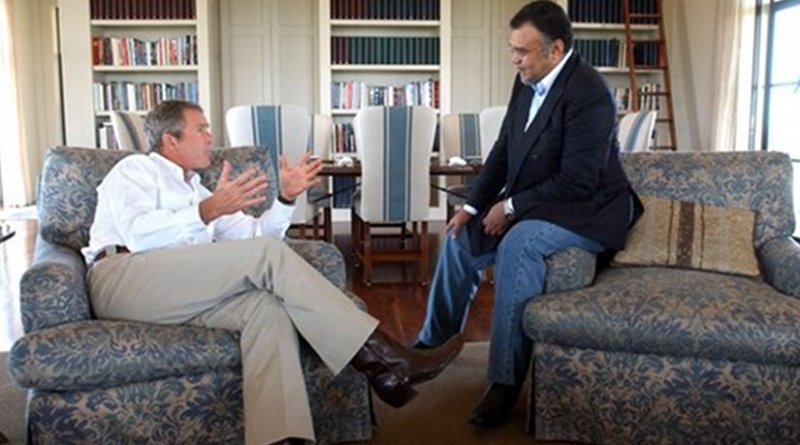 President George W. Bush meets with Saudi Arabian Ambassador Prince Bandar bin Sultan at the Bush Ranch in Crawford, Texas, in 2002. Credit: Wikimedia Commons