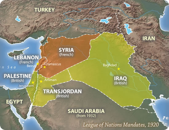 League of Nations Mandates in Middle East, 1920