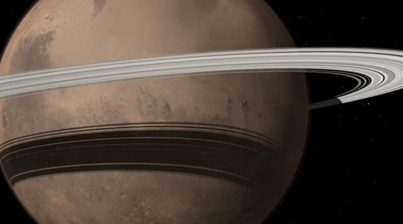 Mars could gain a ring in 10-20 million years when its moon Phobos is torn to shreds by tidal forces due to Mars' gravitational pull. Credit Image by Tushar Mittal using Celestia 2001-2010, Celestia Development Team.