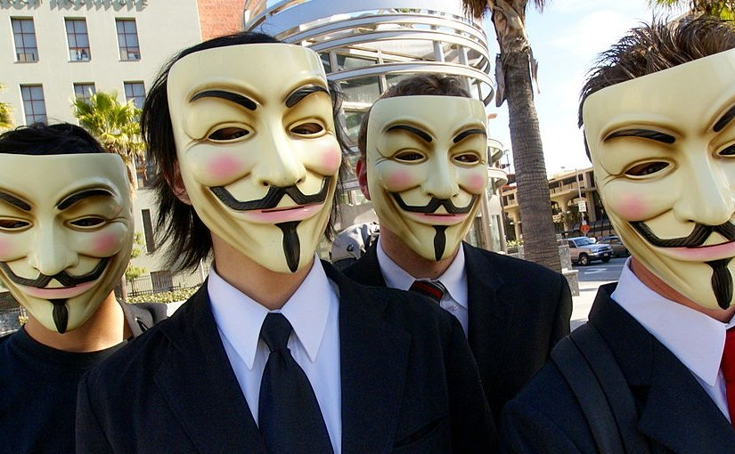 Anonymous with Guy Fawkes masks. Photo by Vincent Diamante, Wikipedia Commons.
