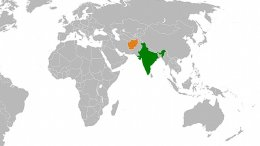 Locations of Afghanistan (orange) and India. Source: Wikipedia Commons.