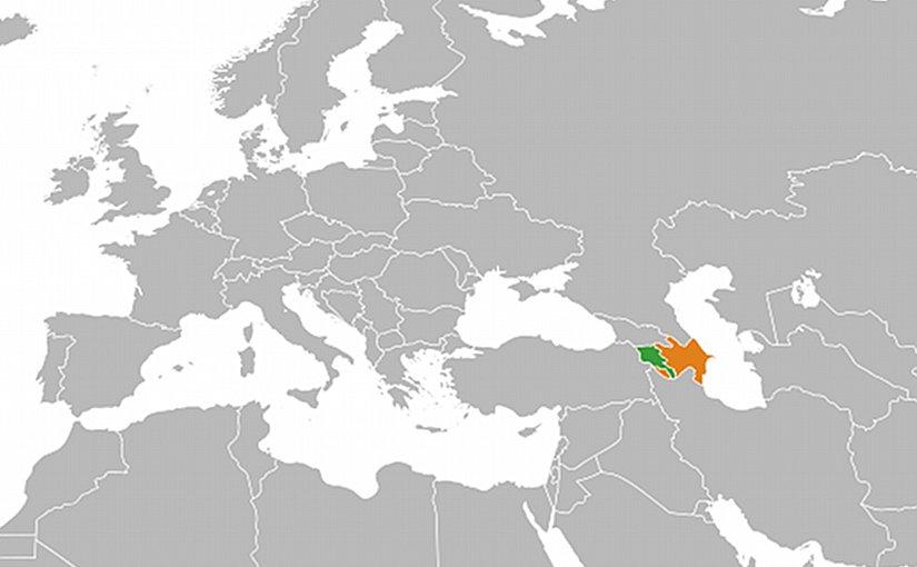 Locations of Armenia (green) and Azerbaijan. Source: Wikipedia Commons.