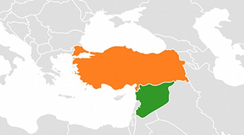 Locations of Syria (green) and Turkey. Source: Wikipedia Commons.