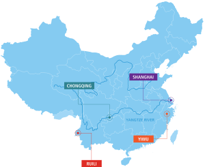 Map 1: The Location of Four Key Cities in China: Shanghai, Chongqing, Yiwu and Ruili