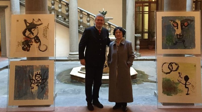 Chinese artist Madame Qiu Zong Kang (Xi'An China) showed her art works at Palazzo Gondi in Florence, Italy