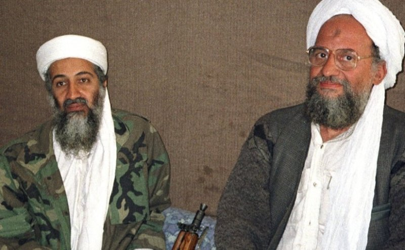 Osama bin Laden sits with Ayman al-Zawahiri in November 2001 photo taken by Hamid Mir. Source: WIkipedia Commons.