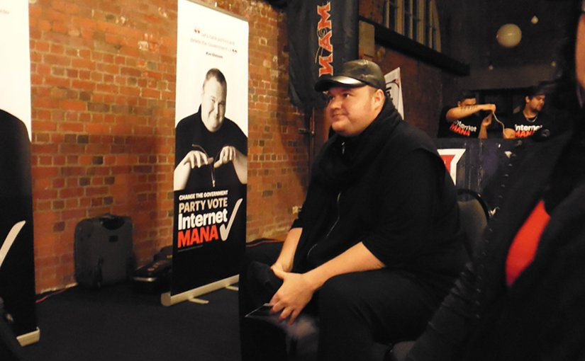 Kim Dotcom at a political rally. Photo by William Stadtwald Demchick, Wikipedia Commons.