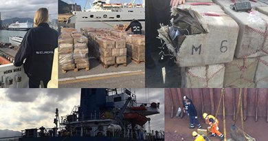 Europol supports Italian Guardia di Finanza and D.C.S.A. in an operation resulting in the seizure of over 13.5 tons of cannabis resin from a Panama-registered merchant vessel. Photo Source: Europol.