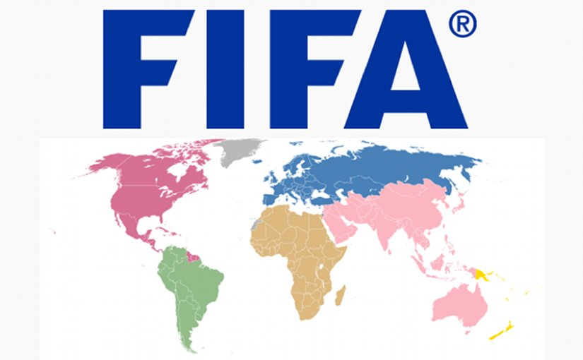 Map of the members of FIFA according to their confederation. Source: Wikipedia Commons.