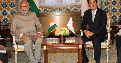Prime Minister Narendra Modi of India and Prime Minister Shinzo Abe of Japan, during former's bilateral visit to Japan, 2014. Photo Credit: Narendra Modi's official Flickr stream, Wikipedia Commons.