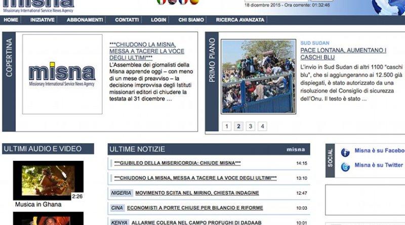 Screenshot of MISNA website.
