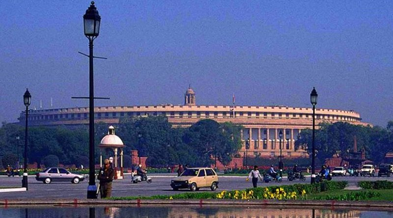 Parliament of India. Photo by Indianhillybilly and Ambuj.Saxena, Wikipedia Commons.
