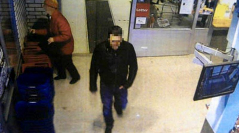 Police claim a video frame gathered in 2012 from a surveillance camera shows the main suspect in the attempted murder of outspoken Uzbek imam Obidkhon Qori Nazarov in the remote Swedish town of Strömsund. The Swedish prosecutor's office is demanding a life sentence for Uzbek national Yury Zhukovsky, who is accused of shooting Nazarov. (Photo: Swedish Police Authority)