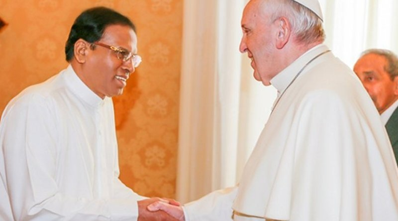 Sri Lanka President Maithripala Sirisena meets with Pope Francis. Photo Credit: Sri Lanka Prime Minister Office.