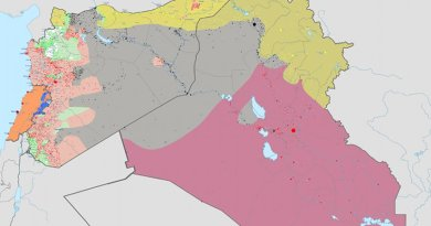 Area in gray controlled by Islamic State as of Jan. 1, 2016. Source: Wikipedia Commons.
