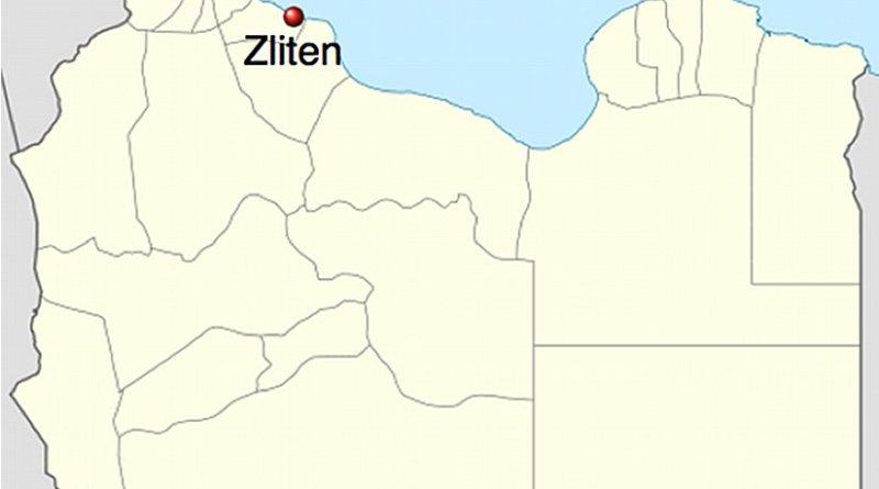 Location of Zliten in Libya. Source: Wikipedia Commons.