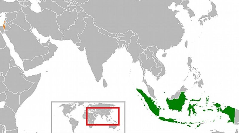 Locations of Indonesia and Israel. Source: Wikipedia Commons.