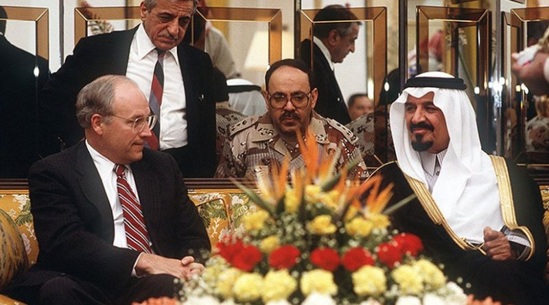 United States Vice-President Dick Cheney meets with Prince Sultan, Minister of Defence and Aviation in Saudi Arabia. US DoD photo by Master Sgt. Jose Lopez Jr., Wikipedia Commons.