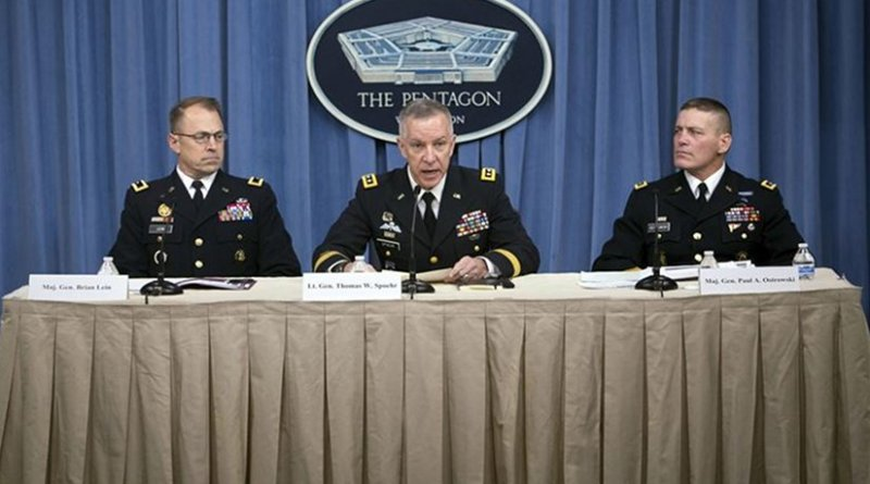Army Lt. Gen. Thomas W. Spoehr, center, director of the Army office of business transformation, Army Maj. Gen. Paul A. Ostrowski, right, deputy for acquisition and systems management, office of the assistant secretary of the Army for acquisition, logistics and technology, and Army Maj. Gen. Brian Lein, left, commanding general of U.S. Army Medical Research and Materiel Command, discuss results of the investigation into the inadvertent shipment from Dugway Proving Ground of live anthrax spores to a number of laboratories in the U.S. and abroad during a news conference at the Pentagon, Jan. 15, 2016. DoD photo by Air Force Senior Master Sgt. Adrian Cadiz