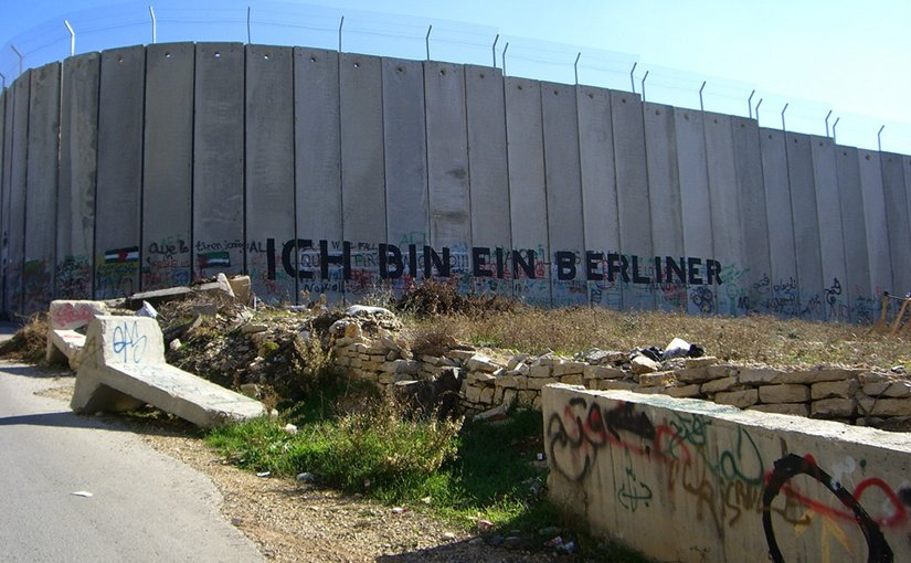 "Graffiti on the road to Bethlehem in the West Bank stating ""Ich bin ein Berliner"" (English: ""I am a Berliner""). Photo by Marc Venezia, Wikipedia Commons."