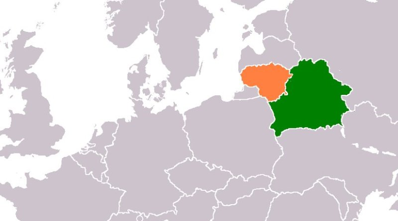 Locations of Belarus (green) and Lithuania (orange). Source: Wikipedia Commons.