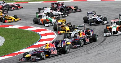 Formula One racing. Photo by Morio, Wikipedia Commons.