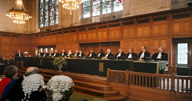 A public hearing at the International Court of Justice (ICJ). Photo Credit: International Court of Justice, Wikipedia Commons.