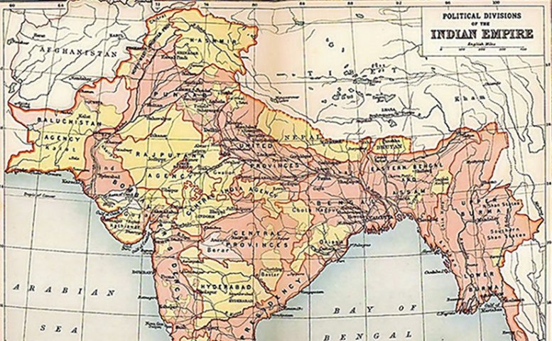 The British Indian Empire, from the 1909 edition of The Imperial Gazetteer of India. Areas directly governed by the British are shaded pink