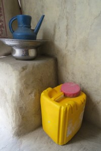 The pitcher and basin are ever-ready for the washing of hands before meals. Photo by Dr. Hakim.