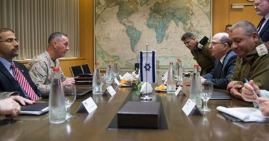 U.S. Marine Corps Gen. Joseph F. Dunford Jr., chairman of the Joint Chiefs of Staff, second from left, and U.S. Ambassador to Israel Daniel B. Shapiro, left, meet with Israeli Defense Minister Moshe Yaalon at the Ministry of Defense in Tel Aviv, Israel, March 3, 2016. DoD photo by D. Myles Cullen