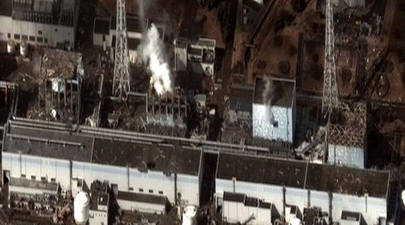 Earthquake and Tsunami damage-Dai Ichi Power Plant, Japan. Author Digital Globe, Wikipedia Commons.