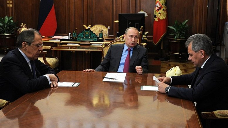 Russia's President Vladimir Putin with Foreign Minister Sergei Lavrov (left) and Defence Minister Sergei Shoigu. Source: Kremlin.ru.