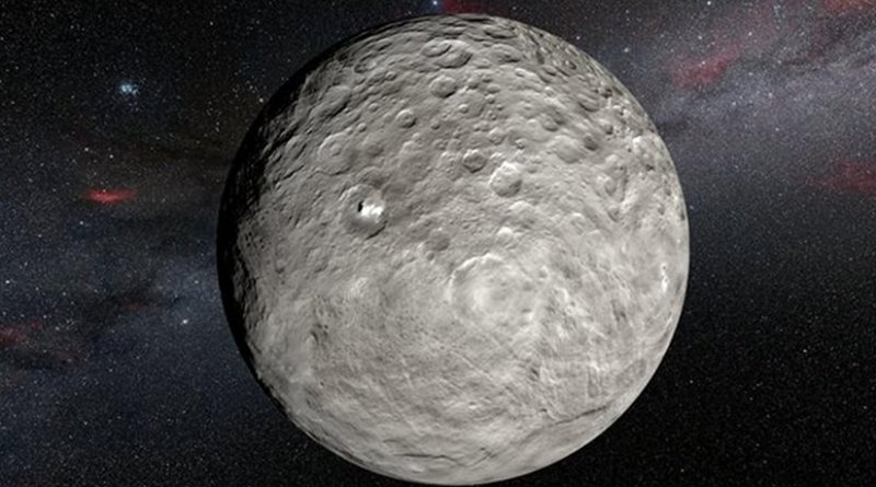 from NASA's Dawn spacecraft in orbit around the dwarf planet Ceres. It shows the very bright patches of material in the crater Occator and elsewhere. New observations using the HARPS spectrograph on the ESO 3.6-metre telescope at La Silla in Chile have revealed unexpected daily changes on these spots, suggesting that they change under the influence of sunlight as Ceres rotates. Credit ESO/L.Calçada/NASA/JPL-Caltech/UCLA/MPS/DLR/IDA/Steve Albers/N. Risinger (skysurvey.org)